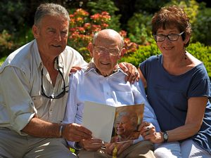 Albert Taylor from Kingswinford celebrating his 108th birthday with his son, left, Robert and neighbour Jean Shipley