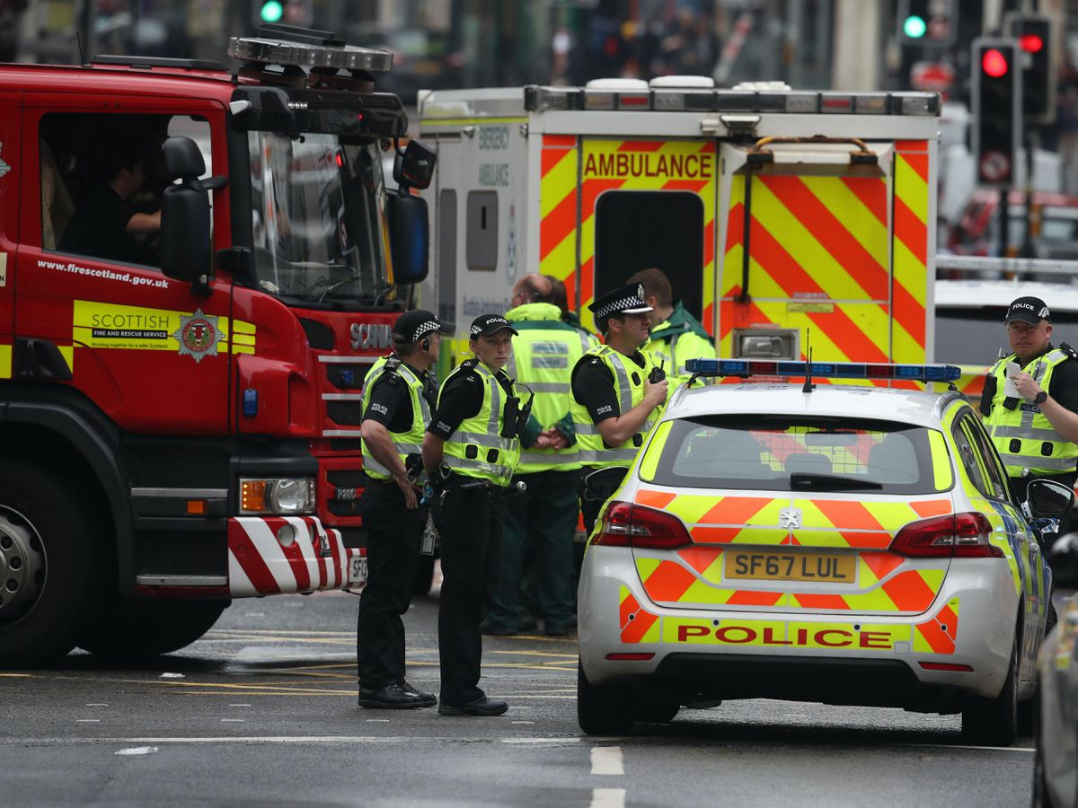 Emergency services at the scene in West George Street