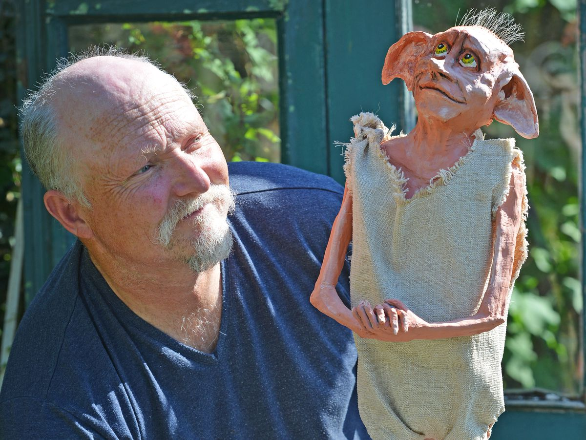 Bake Off's Terry Hartill from Stourbridge and his latest creation of Dobby from the Harry Potter films