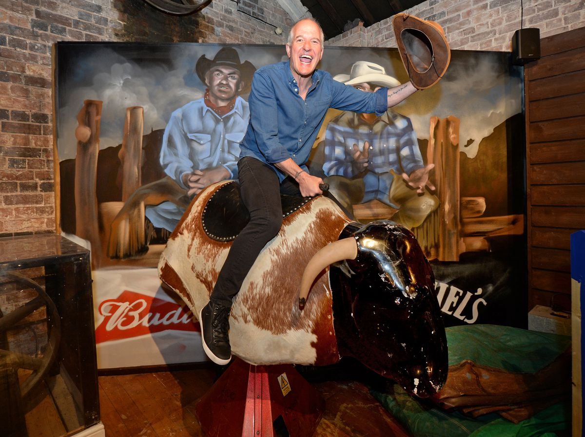 Wolves legend Steve Bull takes on Steve the bull, at new cowboy themed bar Rodeos, which is due to open next week