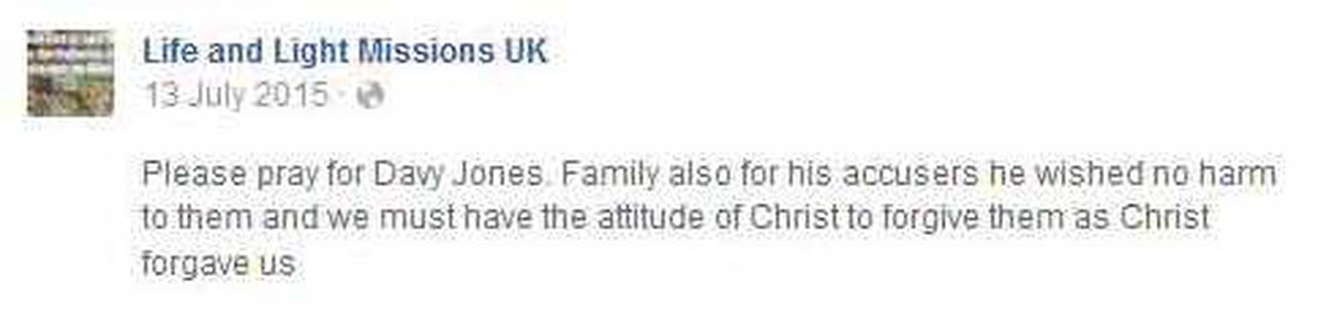 The Facebook update urging forgiveness after the Pastor's death