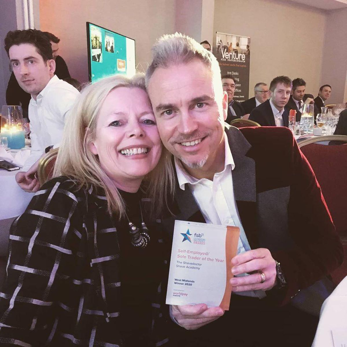 Mark and Geraldine with the West Midlands Sole Trader of the Year by the Federation of Small Businesses award