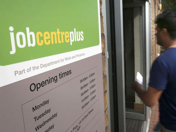 The entrance to a Jobcentre Plus near Westferry in East London