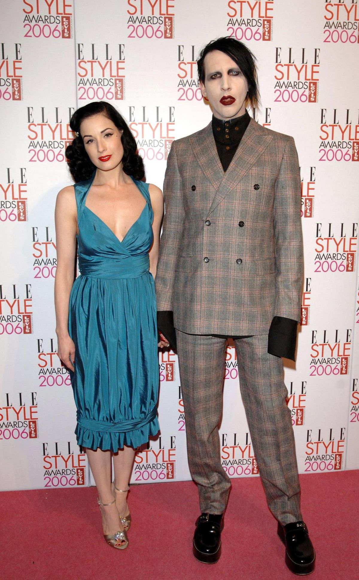 Dita Von Teese with ex husband Marilyn Manson at the Elle Style Awards 2006