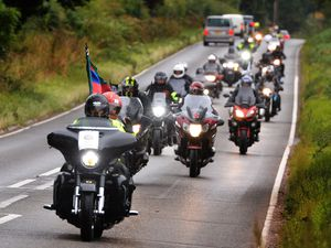 Bikers taking part in the Ride to the Wall