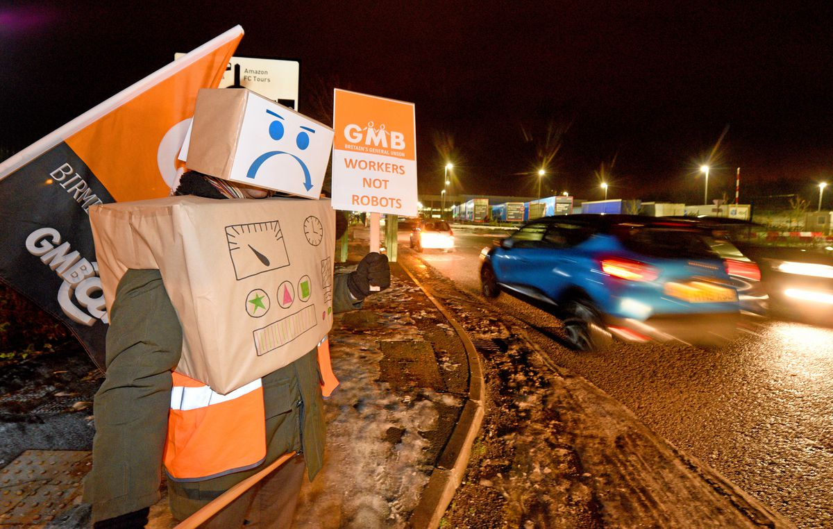 Some of the protesters dressed up as robots