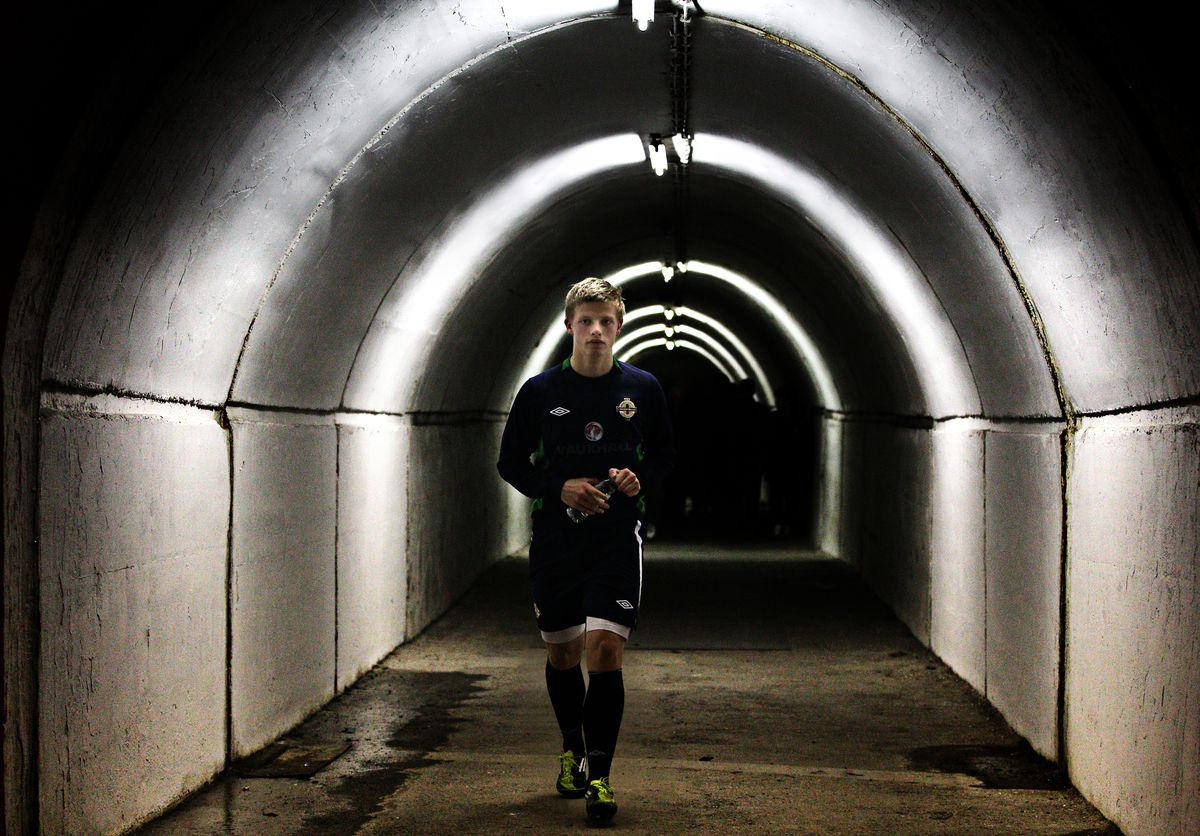 Northern Ireland's Johnny Gorman leaves the stadium after a training session ahead of their UEFA Euro 2012 Qualifying match against Serbia at the Red Star Stadium, Belgrade, Serbia..