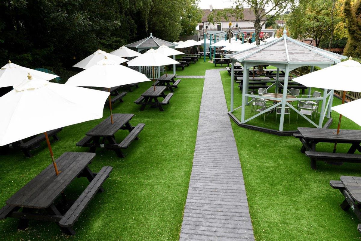 The garden at The Sun at Romsley which includes circular economy furniture