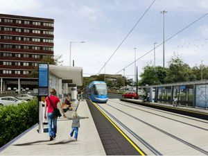 An artist's impression of the Metro extension in Flood Street, Dudley. Photo: Transport for West Midlands