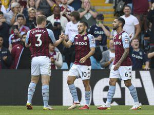 Aston Villa's Emiliano Buendia (centre) celebrates scoring their side's first goal