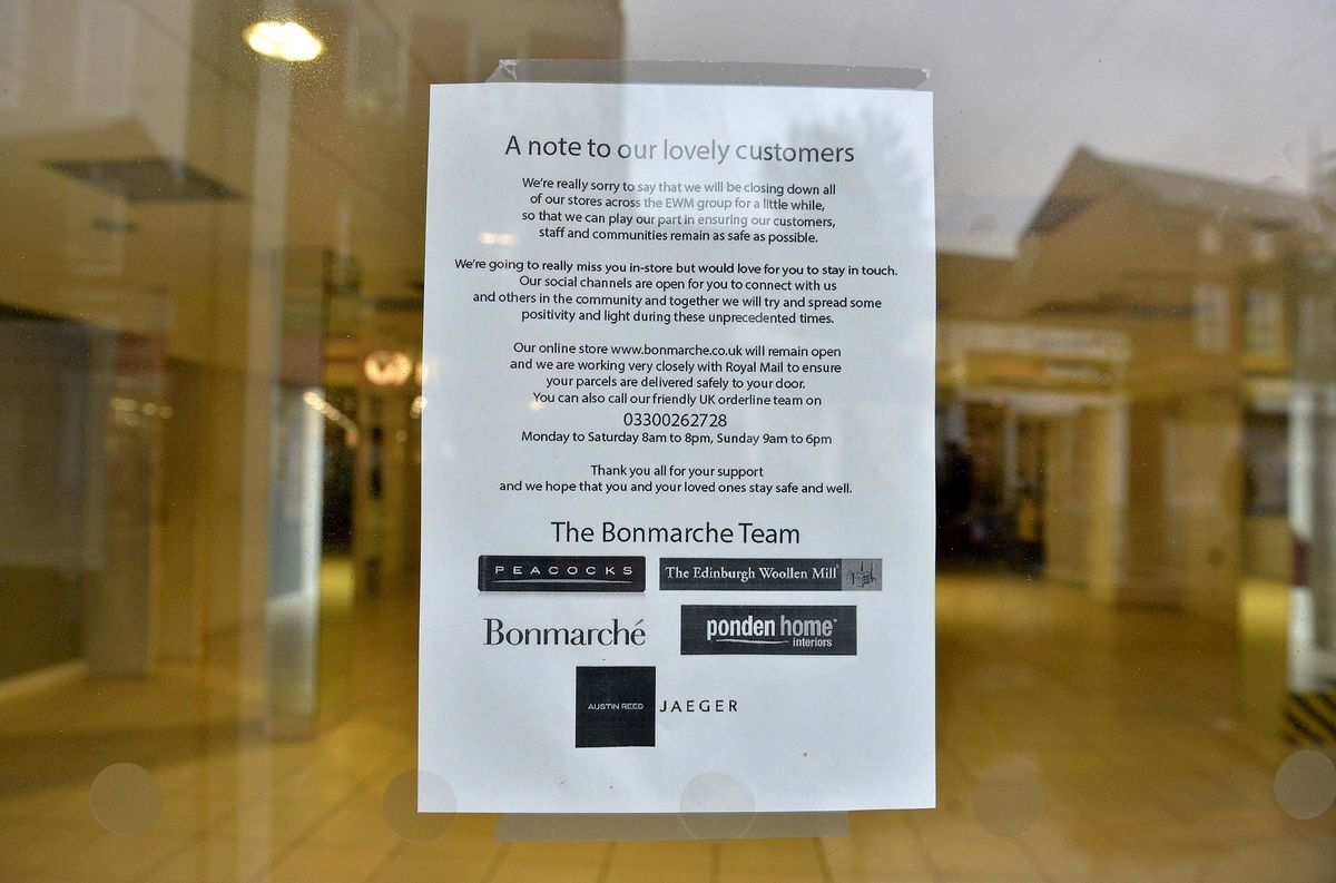 A sign in the window of Bonmarche explained that the store would be closing due to the lockdown