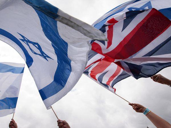 An Israel flag and the Union Flag