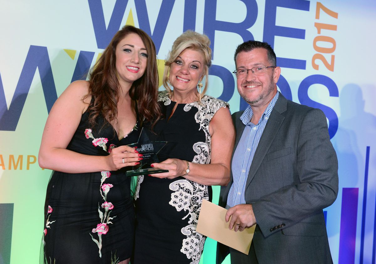 Winners of Excellence in Customer Service was Party Angels. Stacey Dixon and Sue Dixon from Party Angels with Duncan Bowins, MD of award sponsor NCP