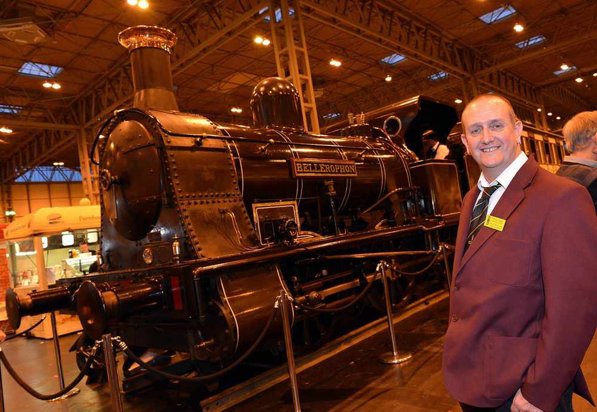 David Moorhouse, from the Warley Model Railway Club is pictured with the 'Bellerophon' - a full size working steam train they had on loan from the Foxfield Railway