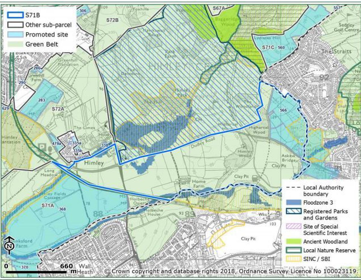 A map showing potential development sites near Himley, with the border with the Dudley borough shown on the edge of the sites