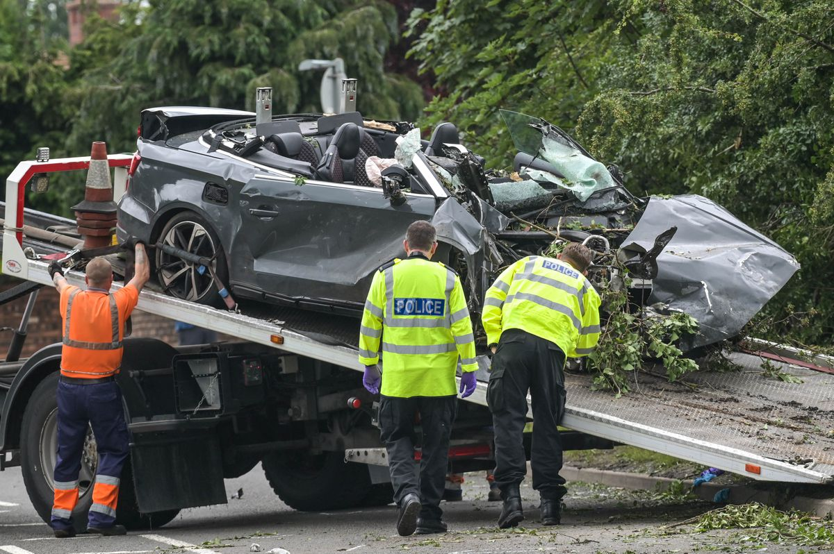 The damaged convertible Audi ended up in a hedge in the crash on Cannock Road. Photo: SnapperSK