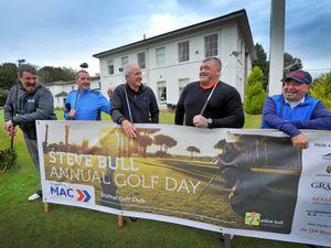 Steve Bull Golf Day at Shifnal Golf Club: Steve Bull with main sponsor Mark Copson, Andrew Taylor, Jason Brewster and John Gough.