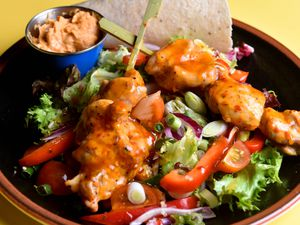 Salad days – the Raptor Salad packed a punch with piri piri chicken, salad leaves and sweet potato and quinoa                                                 Pictures by Tim Thursfield
