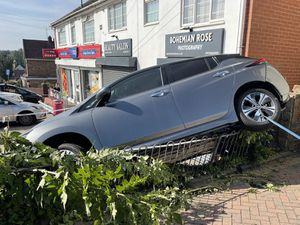 The car reversed onto a wall in Bourne Street, Coseley. Photo: WMFSDudley