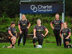 Wolverhampton Ladies Rugby Team members Vicki Benton, Natalie Shaw, Hannah Gee, Jodie Chesterman and Sacha Harley