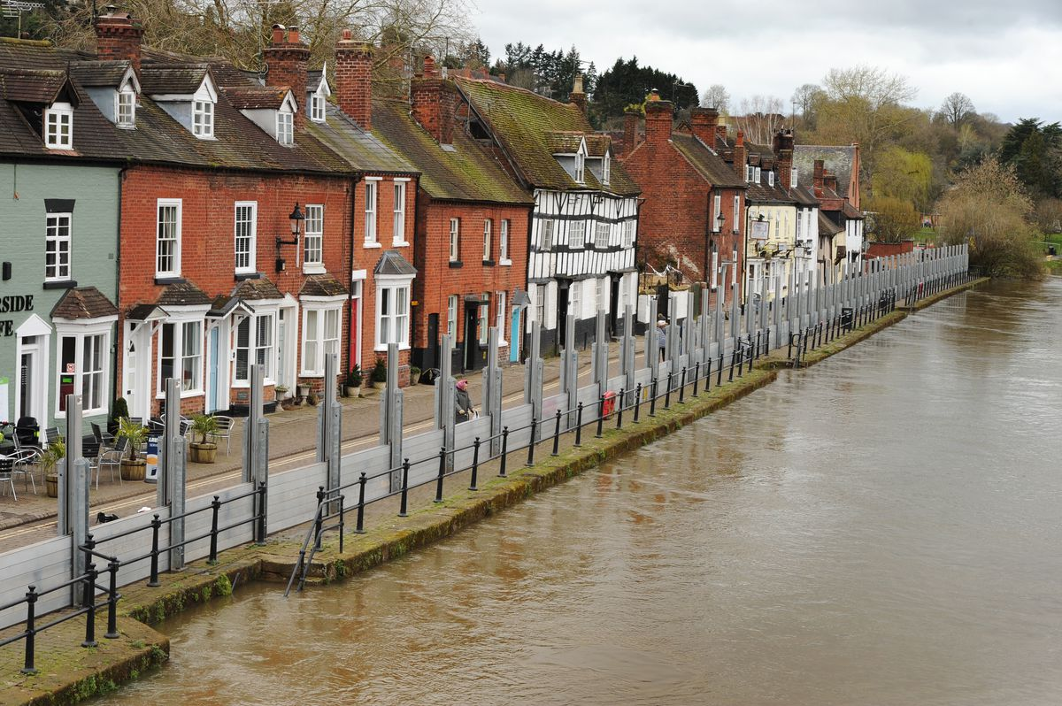 Flood barriers line the River Severn in Bewdley amid rising water levels