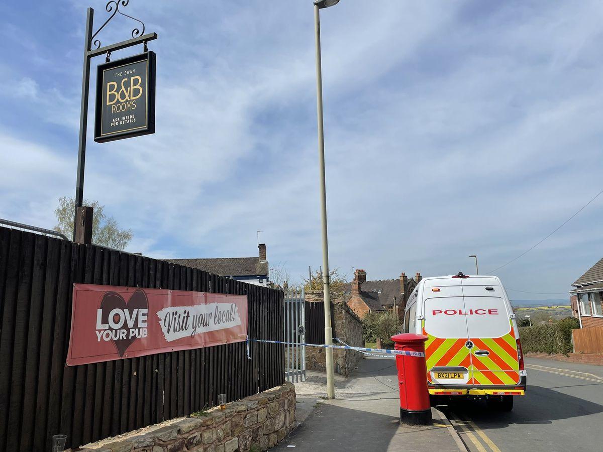 The police cordon in Sedgley.