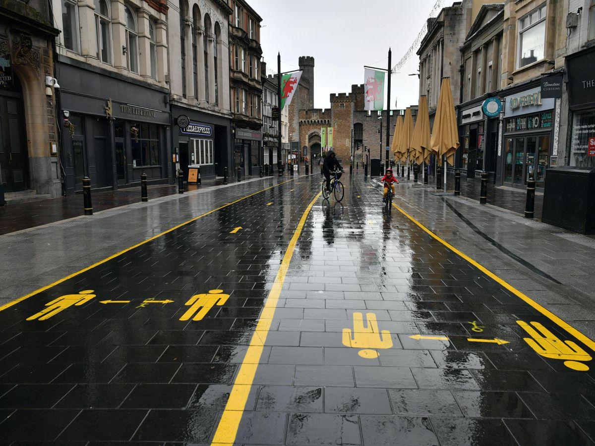 A quiet street in Cardiff as Wales entered a two-week 'firebreak' lockdown