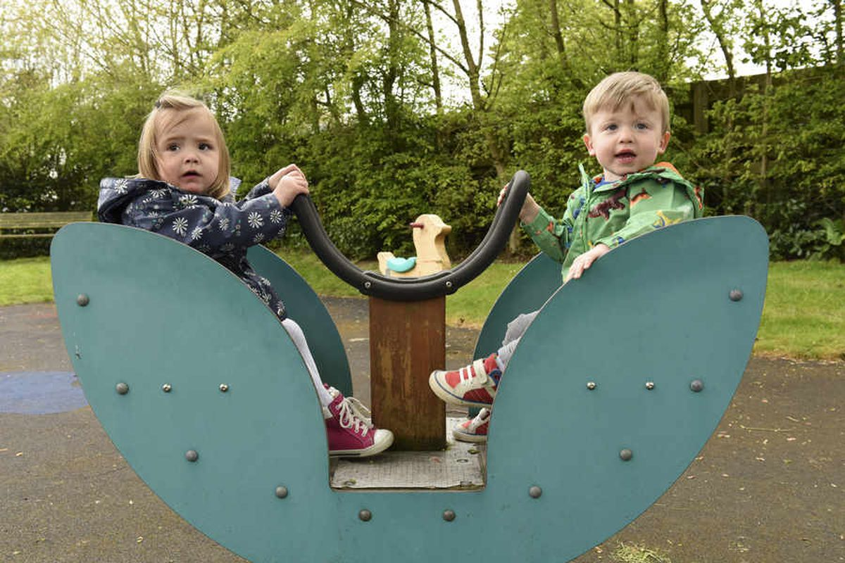 The pair play at the park