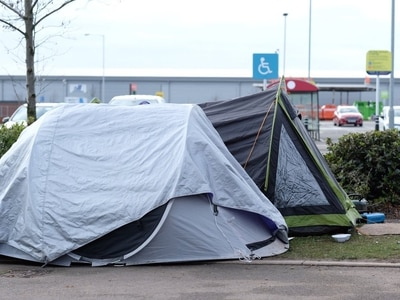Homeless tents pitched next to Wednesfield Library