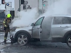 Fire crews battle car blaze next to St John's Retail Park in Wolverhampton