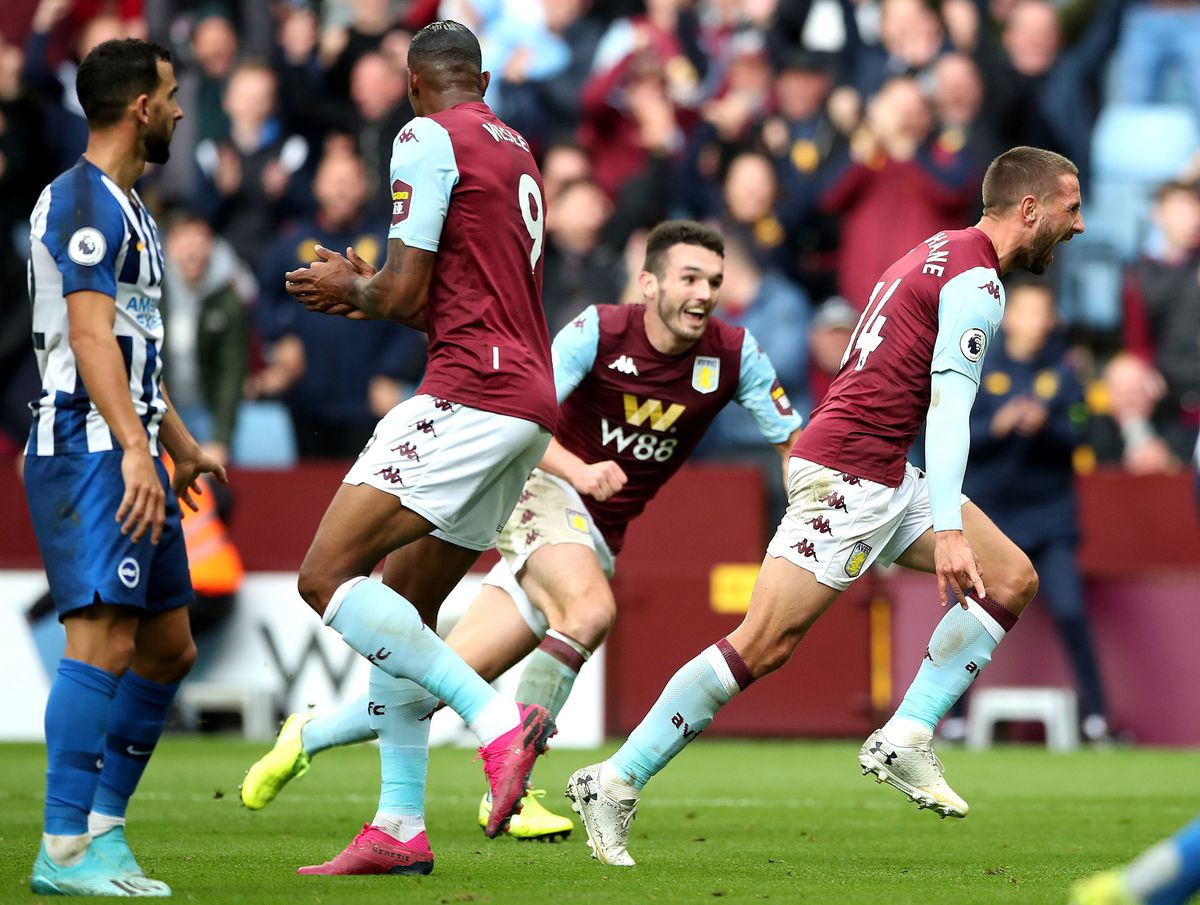 Aston Villa's Conor Hourihane (right) celebrates scoring his side's first goal but it is disallowed by VAR