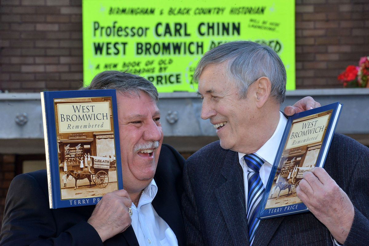 Terry Price, right, with his friend Professor Carl Chinn at the launch of one of his books