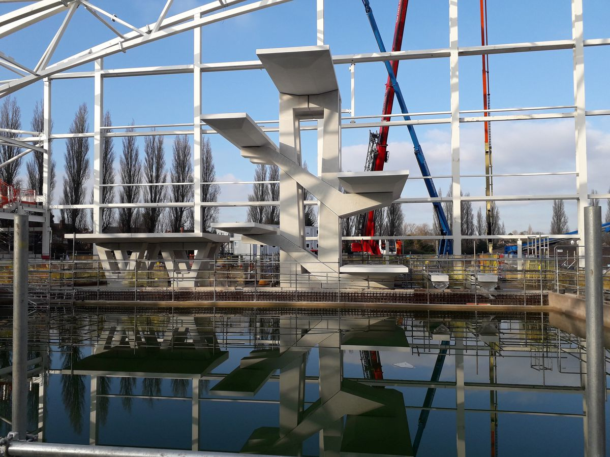 The 12 metre dive tower was completed last month