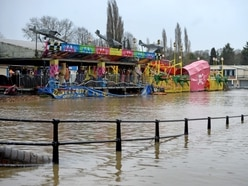 River Severn receding but fairground and sports clubs remain under water