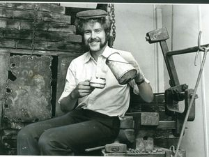 Stuart Holmes paused to pour tea from his old billy can while taking a break from creating the new Black Country Museum in July 1978
