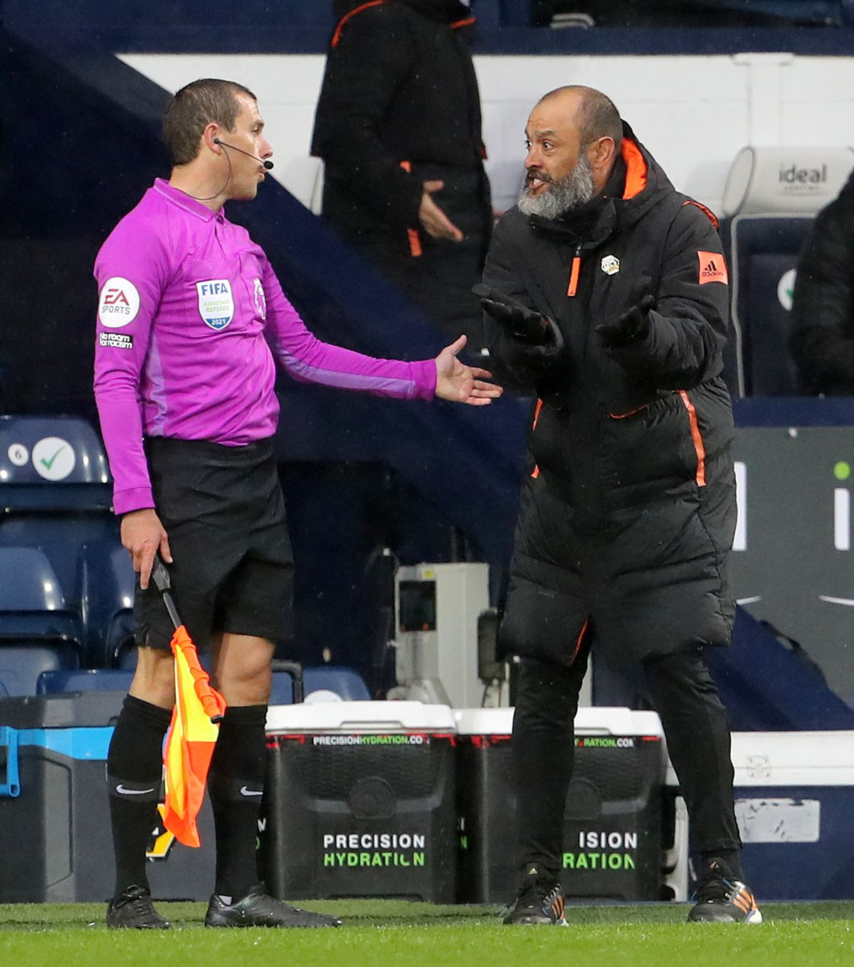 """Wolverhampton Wanderers manager Nuno Espirito Santo appeals to the linesman during the Premier League match at The Hawthorns, West Bromwich. Issue date: Monday May 3, 2021. PA Photo. See PA story SOCCER West Brom. Photo credit should read: Geoff Caddick/PA Wire. ..RESTRICTIONS: EDITORIAL USE ONLY No use with unauthorised audio, video, data, fixture lists, club/league logos or """"live"""" services. Online in-match use limited to 120 images, no video emulation. No use in betting, games or single club/league/player publications.."""