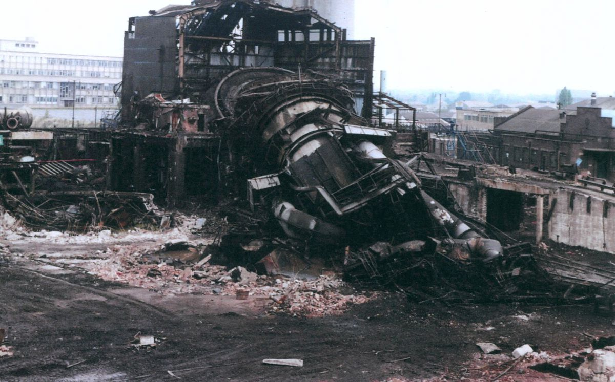 The sad end of Big Lizzie: the Elisabeth blast furnace was demolished in 1980.