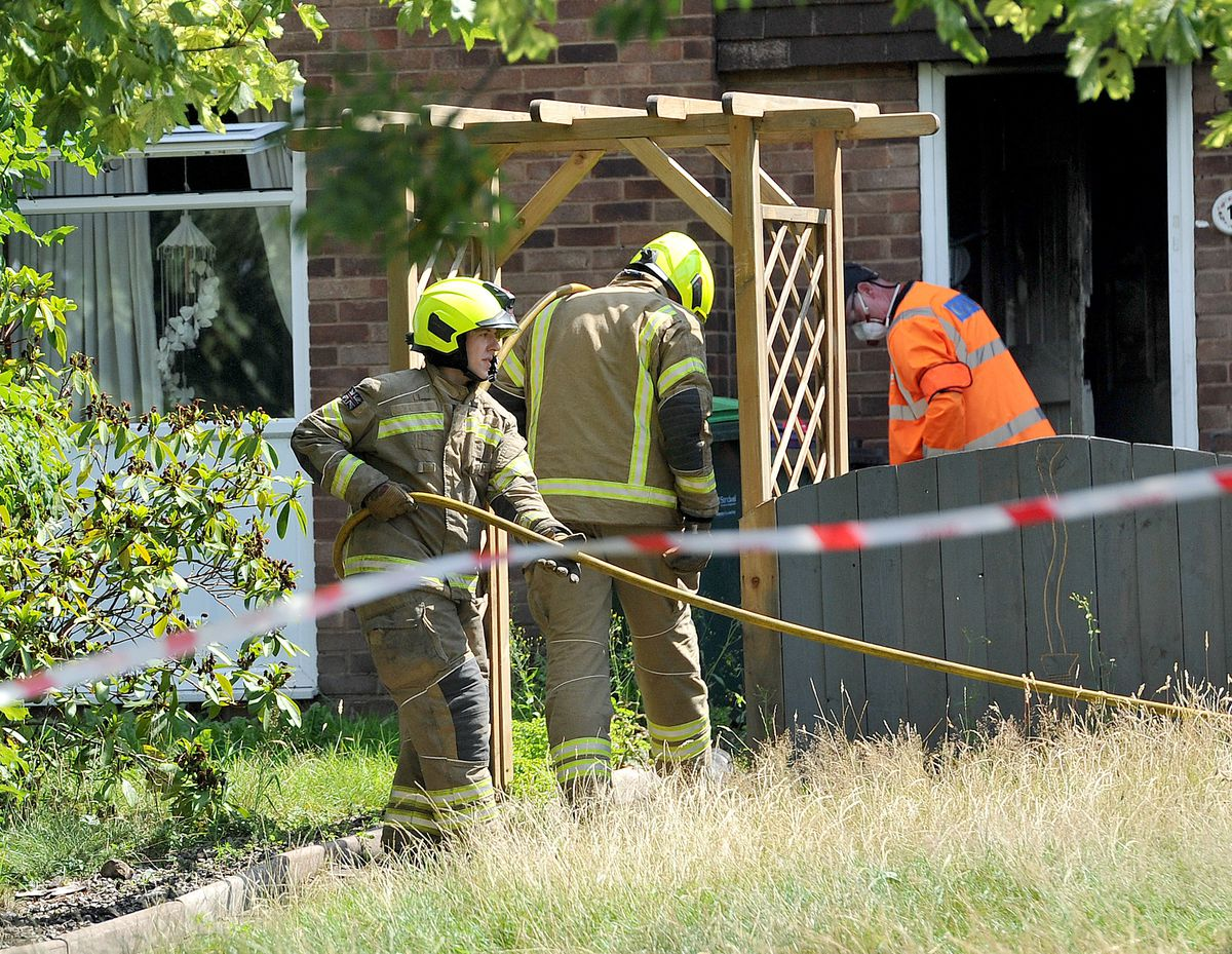 Scene of the fire in Temple Way, Tividale
