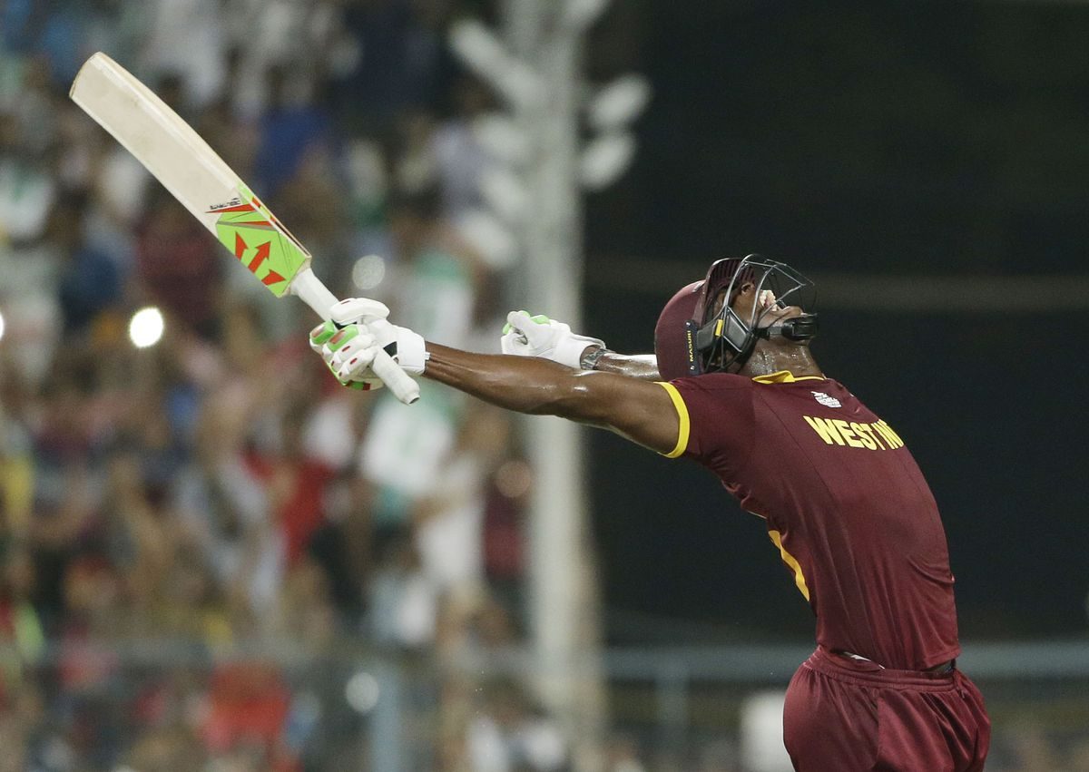 West Indies Carlos Brathwaite celebrates after they defeated in England in the final of the ICC World Twenty20 2016