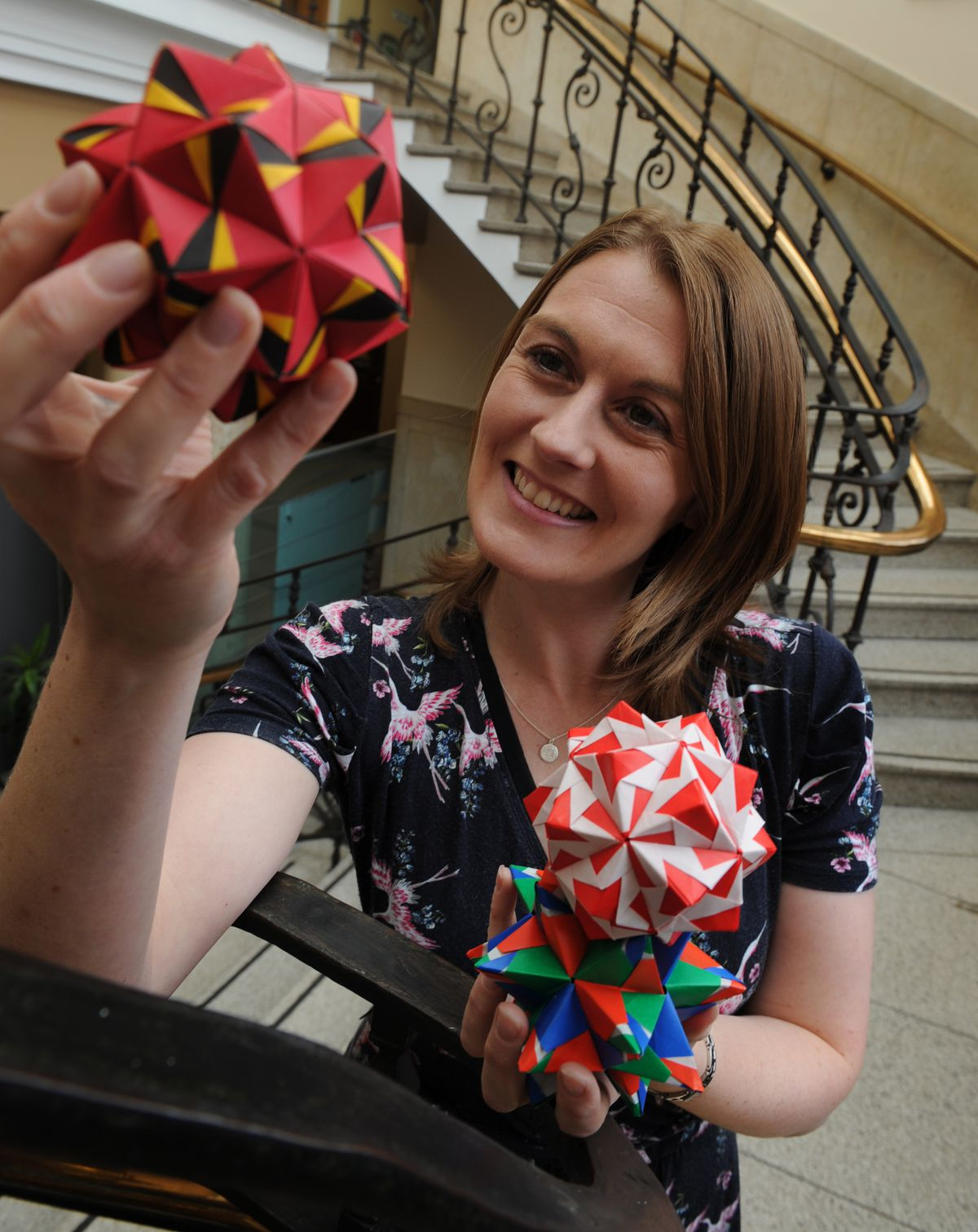 Vickie Warren with some of the mystery origami
