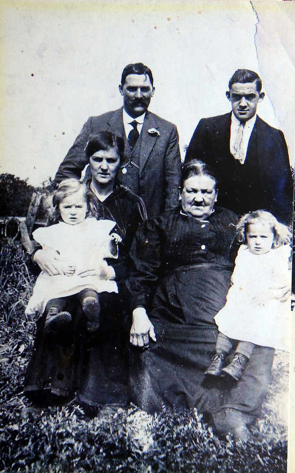 The family pictured in 1921 when Robert and Jim were 2. L/R Robert Fletcher, Florry Hall (aunt), Bill Hall (uncle), Grandmother (don't know name), Richard Hall (uncle), Jim Fletcher