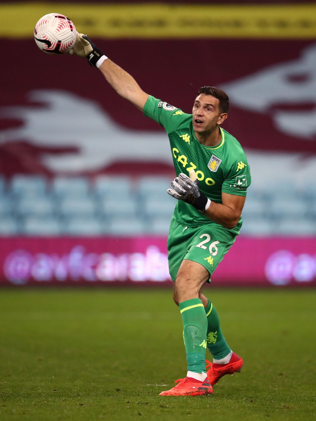 Aston Villa goalkeeper Emiliano Martinez during the Premier League match at Villa Par