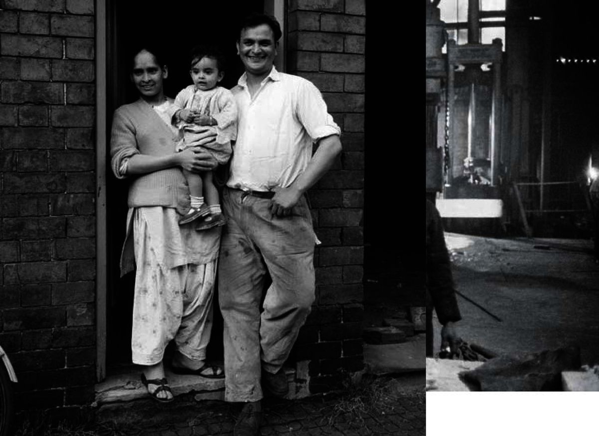 Sardar and Razina Mohammed, with their daughter Sandra, outside their 'slum' home in Lower Cross Street, Smethwick in July, 1961. Migrants from the Commonwealth suffered routine discrimination when it came to finding somewhere to live