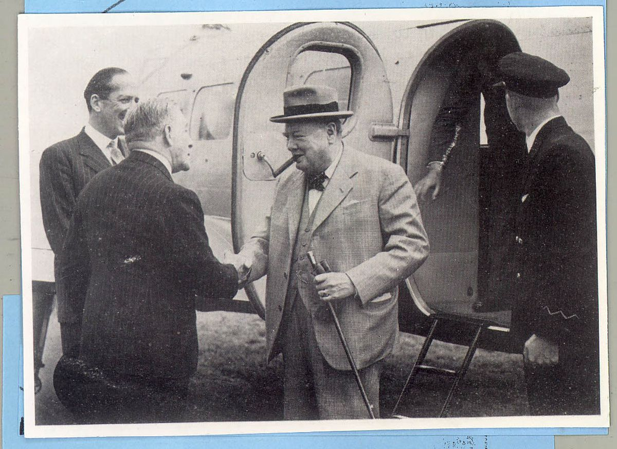 Winston Churchill arriving at Pendeford Airport in 1949 to address a mass rally at Molineux stadium