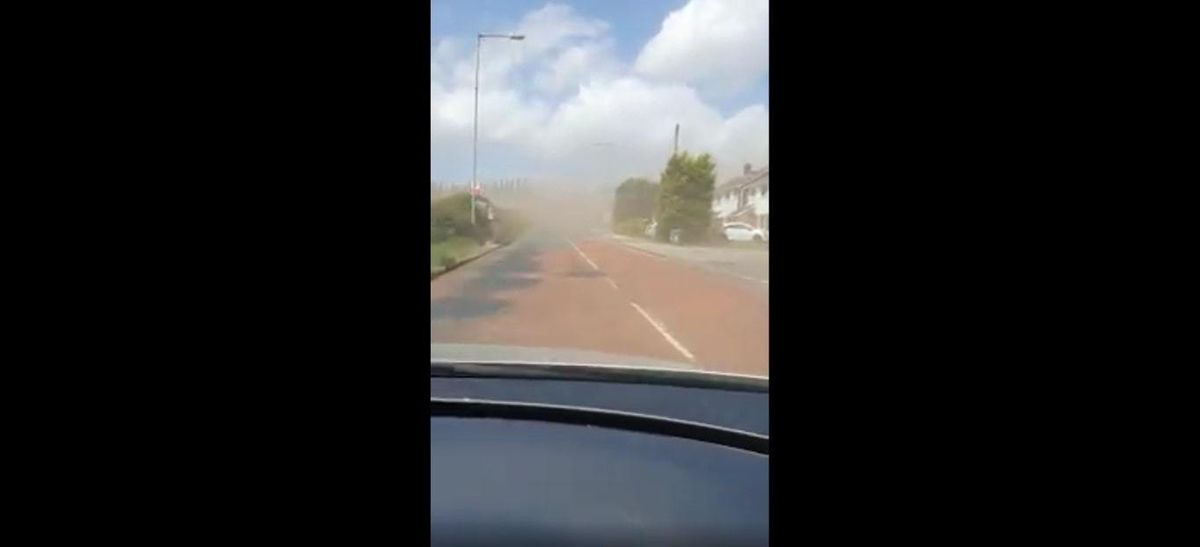 A dust storm battered houses and affected visibility for motorists in Aldridge Road, Streetly. Photo: Lee Nesbitt