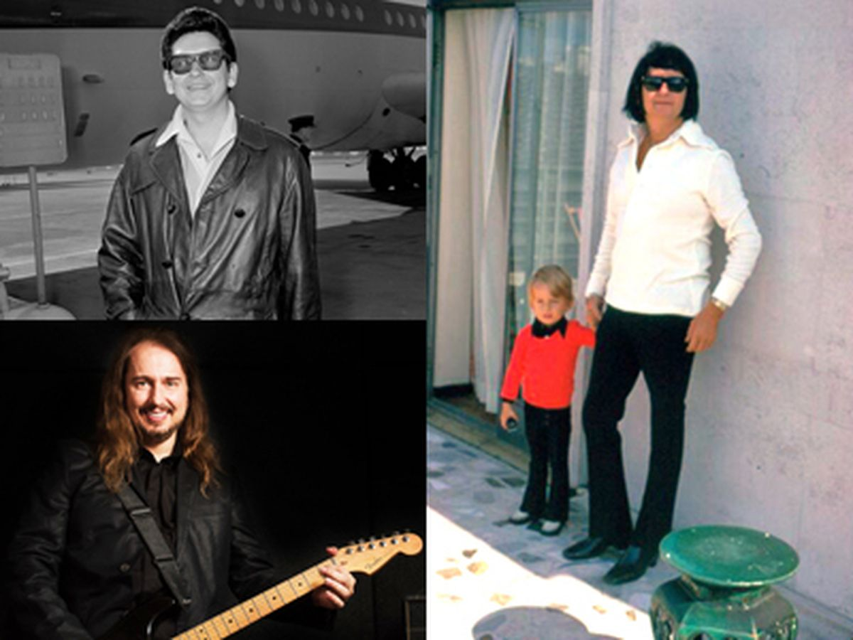 Top left, Roy Orbison, bottom left, Roy Orbison Jr, and right, Roy Jr as a little boy with his dad