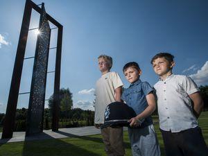 Harvey, Riley and Reggie in front of the new UK Police Memorial