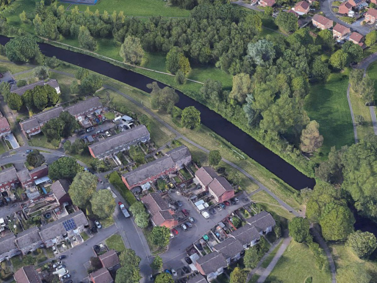 An aerial of the canalside area where the shooting happened in Pendeford, Wolverhampton. Photo: Google