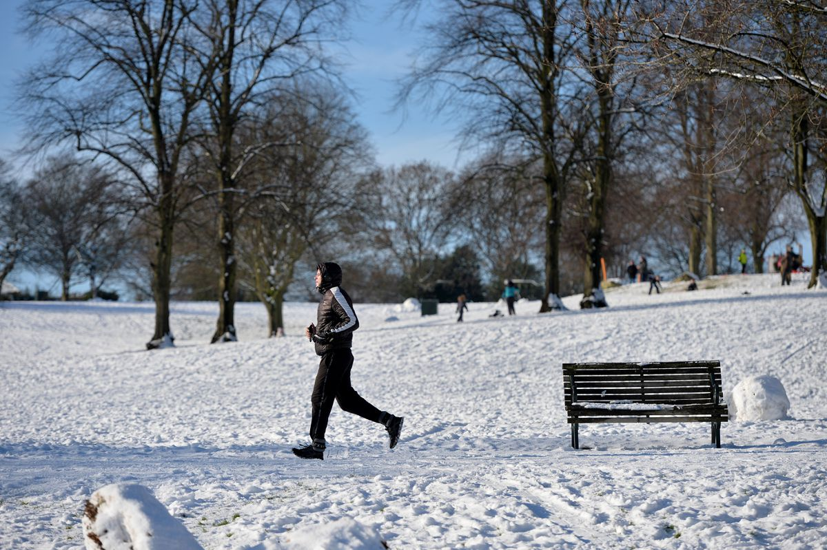 A jogger braves the cold at Sandwell Valley and Dartmouth Park
