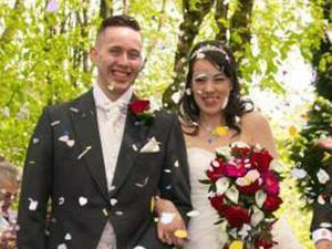 James and Amy Barnes on their wedding day